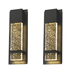 Interior Lighting Emliviar Modern Wall Sconces 2 Pack, LED Outdoor Indoor Wall Fixture in Black Finish with Bubble Glass, 0395-WD-2PK modern wall sconces