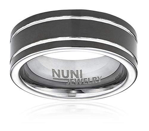 Nuni Jewelry 8mm Black Tungsten Ring Double Silver Grooved Design Wedding Bands (9.5) ()