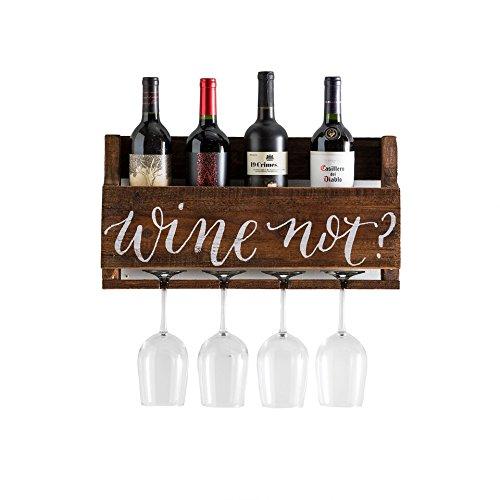 del Hutson Designs - The Little Elm Wine Rack w/Quote 'Wine Not?', USA Handmade Reclaimed Wood, Wall Mounted, 4 Bottle 4 Long Stem Glass Holder (Walnut)