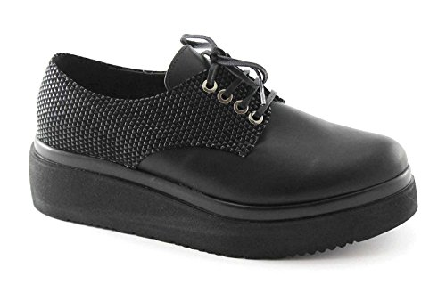 women platform derby DIVINE Black smooth Nero 1160 laces shoes MADNESS xqP7PRwO