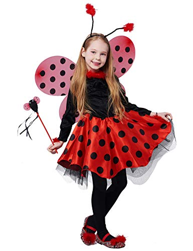 IKALI Girls Ladybug Costume, Deluxe Animal Fancy Dress Outfit with Wings (10pcs Set) 7-8Y