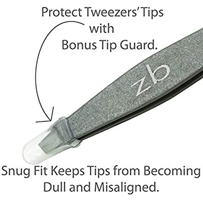 Tweezers – Surgical Grade Stainless Steel - Slant Tip for Expert Eyebrow Shaping and Facial Hair Removal – with Bonus Protective Pouch - Best Tool for Men and Women