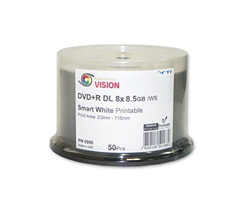8.5 GB Blank DVD+R DL - DVD+R Falcon Vision Smart 2P White Inkjet Hub Printable 8x 8.5GB 50 Disc Cakebox Dual Layer Blank DVDs