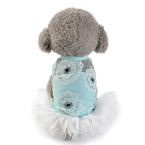 Hot Sale ! New Fashion Dog Cat Bow Tutu Dress Lace Blouse, Ninasill Exclusive Skirt Pet Puppy Dog Princess Costume Apparel Clothes (L, Blue)