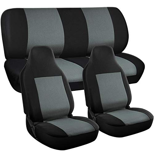 (Motorup America Auto Seat Cover Full Set - Fits Select Vehicles Car Truck Van SUV - Gray & Black)