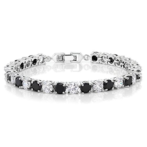 (Sparkling Multi-Color Round Cubic Zirconia CZ Women's Tennis Bracelet (7.50 cttw, 7 Inch), White and Black)
