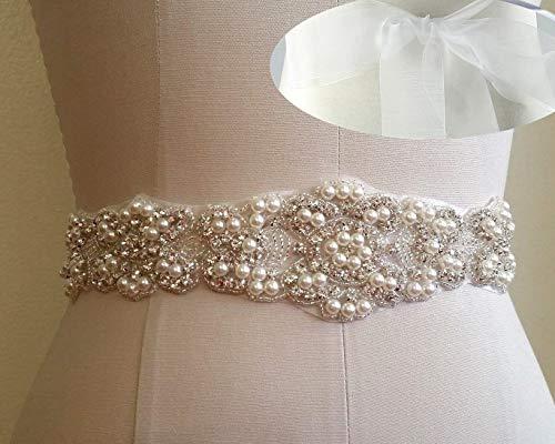 Crystal Belt Rhinestone White Organza Braided sash Wedding Dress Sash Belt for Bridal Gowns ()