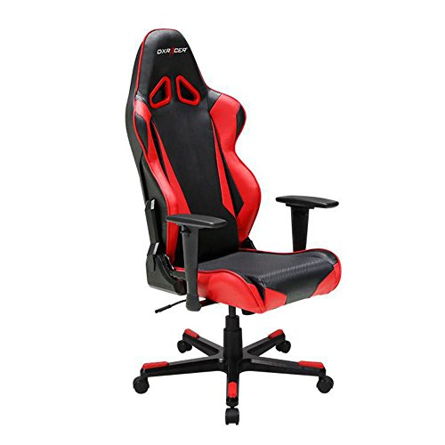 DXRacer OH/RB1/NR Black & Red Racing Series Gaming Chair Ergonomic High Backrest Office Computer Chair Esports Chair Swivel Tilt and Recline with Headrest and Lumbar Cushion + Warranty For Sale