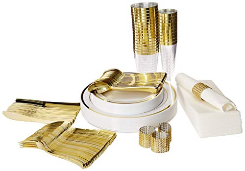 Plastic Dinnerware Set – TrueLook Tableware! 24 Disposable Plates, Cups, Flutes, Napkins, Napkin Rings and Silverware - White and Gold Plastic Plates for Parties, Wedding, Fancy Dinner Occasions ()