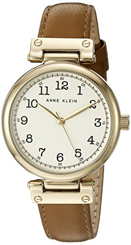 Anne Klein Women's AK/2252CRDT Easy To Read Gold-Tone and Dark Tan Leather Strap Watch