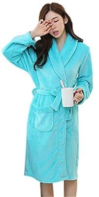 Betusline Women's Winter Flannel Warm Cardigan Sleepwear Pajamas Bathrobe