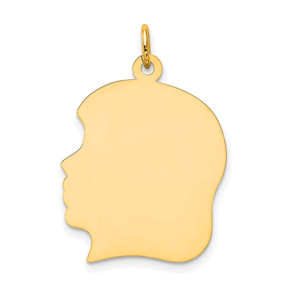 Solid 14k Yellow Gold Plain Large .018 Gauge Facing Left Engravable Girl Head Charm Pendant 29mm x 4mm