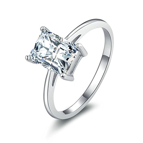 (Engagement Rings)Adisaer Silver Rings for Women Wedding Bands Rectangle Cubic Zirconia Size 5.5