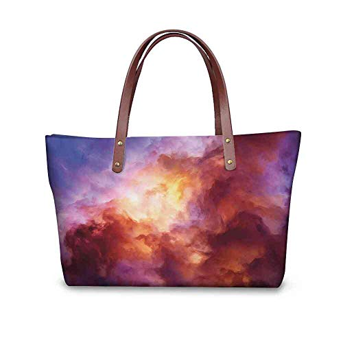 Custom Handbag Tote Shopping Bags Space,Surreal Colorful Storm Clouds Dramatic Mystical Creation Birth of Stars Concept,Red Pink Yellow Printing Tote Quilted