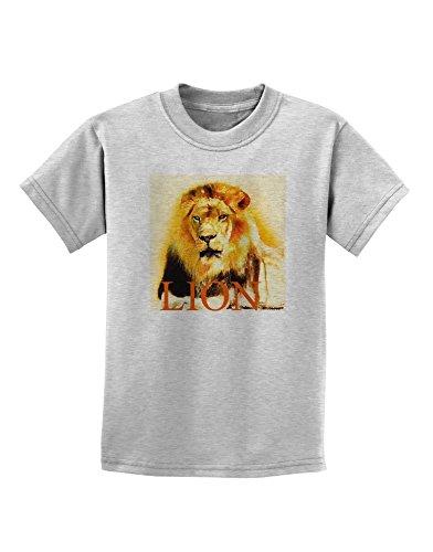 tooloud-lion-watercolor-4-text-childrens-t-shirt-ash-gray-xl