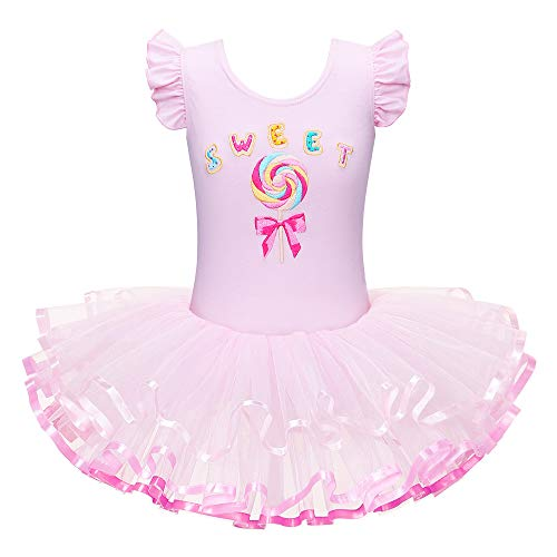 BAOHULU Leotards for Girls Ballet Dance Tutu Skirted Princess Dress 3-8 Years B029_CandyPink_M