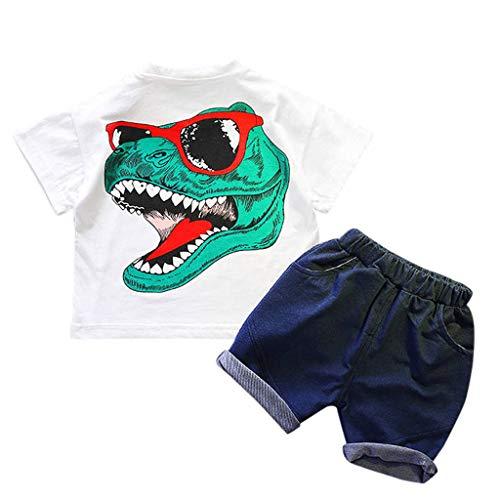 (Zlolia Toddler Kids Boys Dinosaur Cartoon Print T-Shirt Two-Piece Set with Denim Stretch Shorts Kids Summer)