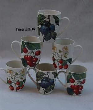 Leonardo Porcelana Juego de 6 Redoute Cherry Plum Fresa Frutas Vasos Tazas Regalo Bnew: Amazon.es: Hogar