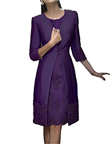 JINGDRESS for Two Piece Bride Dresses Tea Women of Jackets Length with Mother Purple The rqzrwPfH