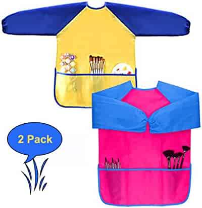 H&G Master Children Art Smocks, Kids Waterproof Artist Painting Aprons Long Sleeve with 3 Pockets for Age 2-7 Years (Yellow-Rose)