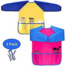 Children Art Smocks, Kids Waterproof Artist Painting Aprons Long Sleeve with 3 Pockets for Age 2-7 Years (yellow-rose)