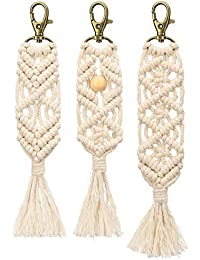 Mini Macrame Keychains Boho Bag Charms with Tassels Handcrafted Accessory for Car Key Purse Phone Wallet Unique Gift, Natural White, 3 Pack