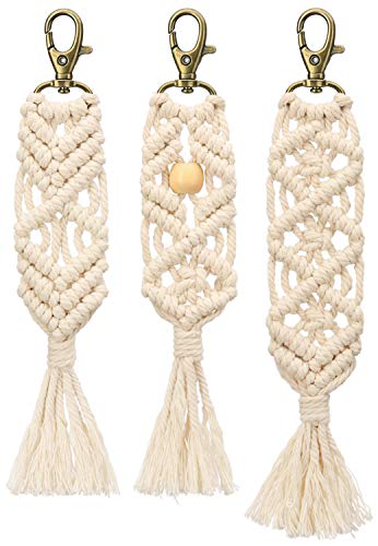 (Mkono Mini Macrame Keychains Boho Macrame Bag Charms with Tassels Handcrafted Accessory for Car Key Purse Phone Wallet Unique Gift, Natural White, 3)