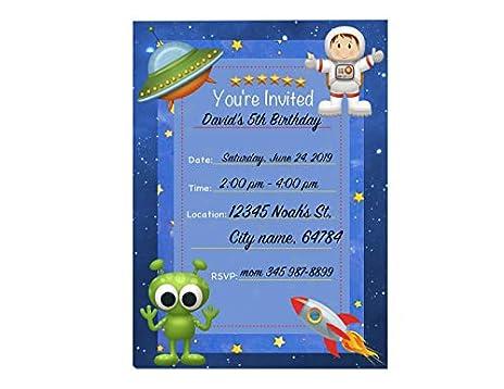 Amazon Com Astronaut Invitations 12 Pcs 5x7 Galaxy Invite
