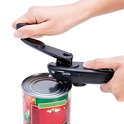 8 In1 Manual Can Opener by Tuscom,Magnetic Surface Design 18.5 x 6.5 x 5.5CM,for Kitchen Bar Cafe Restaurant Bottle Jar Portable Gadget (Black)