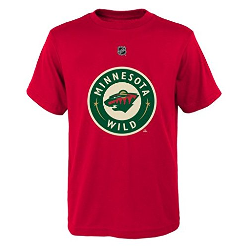 (NHL Minnesota Wild Boys 8-20 Name and Number Tee, Hunter, Large)