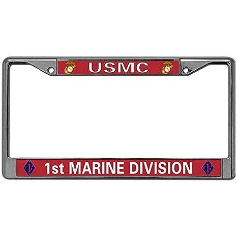 Chromed Metal USMC//1st Marine Division Military License Plate Frame