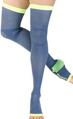 dc42da726 Lace Poet Yoga/Sleep Thigh-High Compression Toeless Socks (Medium, Mystic  Blue)