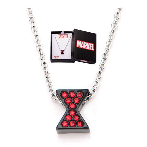 Marvel Avengers Black Widow Rhinestone Logo Necklace -