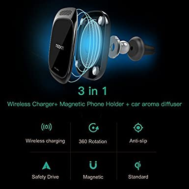 iPhone Xs Max//XS//XR//X//8//8 Plus and More Nillkin 3-in-1 Qi Wireless Charging Pad /& Magnetic Car Mount Air Vent Holder with Aroma Diffuser for Samsung Note 9//8//S10//S9//S8 Plus Black