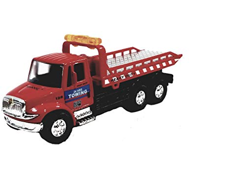 Showcast International Heavy Duty Red Garage Flatbed Tow Truck Functional Rollback Wrecker 1/64 Scale Commercial Vehicle