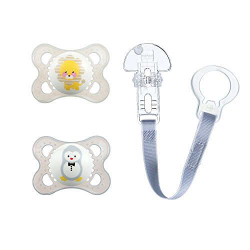 MAM Pacifiers and Baby Pacifier Clip, Baby Pacifier 0-6 Months and Baby Pacifier Clip, Best Pacifier for Breastfed Babies, Animal Design Collection, Unisex, 3-Count