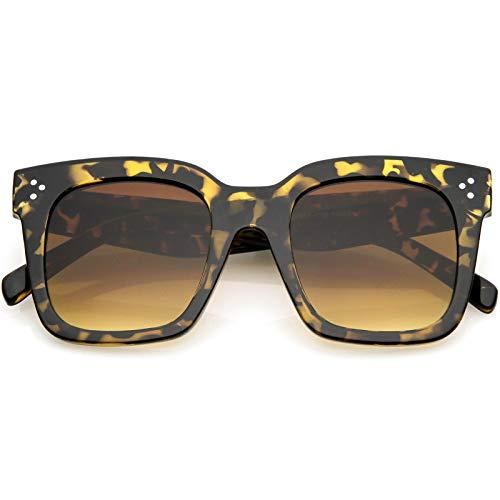 zeroUV - Bold Oversize Tinted Flat Lens Square Frame Horn Rimmed Sunglasses 50mm (Shiny Tortoise/Amber)