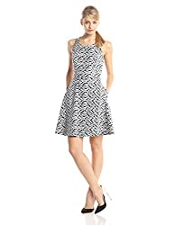 Jessica Simpson Women's Sleeveless Printed Fit and Flare with Bow Back Dress, Black/White, 12