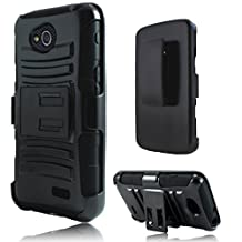LG Tribute LS660 / Optimus F60 Case, Premium Durable Hard & Soft Rugged Shell Hybrid Protective Phone Case Cover with Built in Kickstand For LG Tribute LS660 / Optimus F60【Storm Buy】 (Holster black)