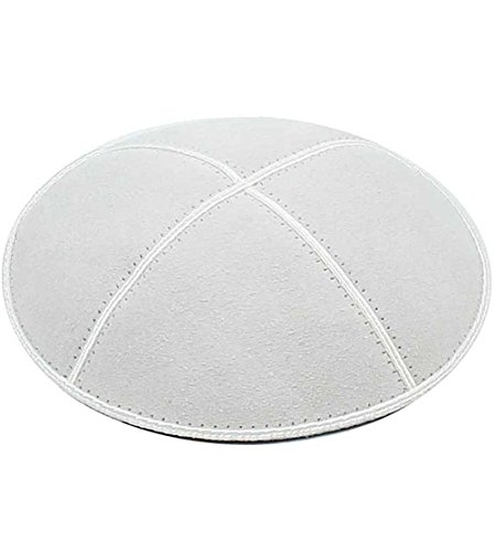 Zion JudaicaTM Suede Quality Kippot for Affairs or Everyday Use Single or Bulk (1PC, White)