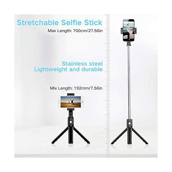 doosl Bastone Selfie Bluetooth, Selfie Stick Monopiede, Mini Estensibile 3 in 1 Selfie Stick Treppiede con Telecomando Wireless per Smartphone 4 spesavip