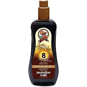 Australian Gold SPF 8 Spray Gel Sunscreen with Instant Bronzer, 8 Fl Oz