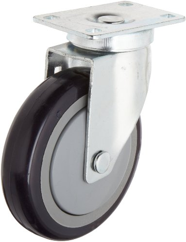 "RWM Casters VersaTrac 27 Series Plate Caster, Swivel, Thread Guard, Urethane on Polypropylene Wheel, Ball Bearing, 300 lbs Capacity, 5"" Wheel Dia, 1-1/4"" Wheel Width, 6-5/16"" Mount Height, 3-3/4"" Plate Length, 2-5/8"" Plate Width from RWM Casters"