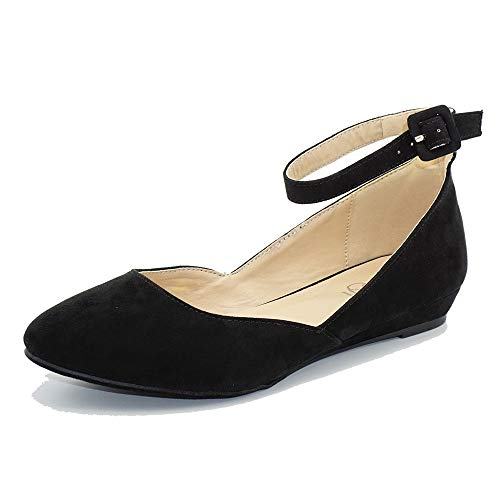 Women's Ballet Flat Pointed Toe Buckled Strap Flat Ankle Strap Shoes Black 11 ()