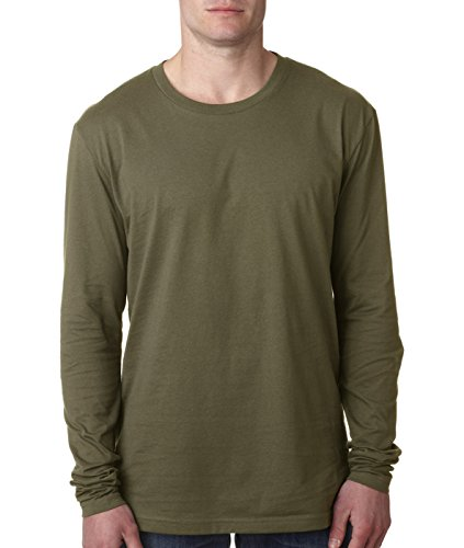 Next Level Men's Premium Fitted Long-Sleeve Crew, Military Green, - Premium Outlets Jersey Stores