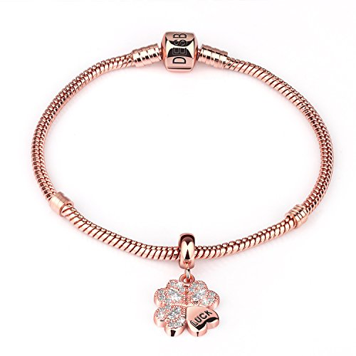 - Desberry 925 Sterling Silver 18K Rose Gold Plated Bracelet Clasp Charm with Free Clover Charms Bracelets Snake Chain Bracelets (Rose Gold)