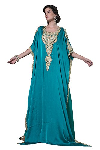 Kolkozy Fashion Women's Arabic Style Kaftan Sea Green Size L