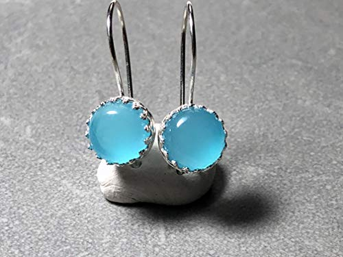 Blue Apatite Gemstone Earrings set in Sterling Silver with Fish Hooks