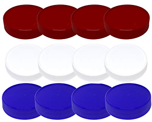 Jarming Collections Mason Jar Storage Lids-Plastic (BPA Free) Regular Mouth Mason Jar Lids Set of 12 Reusable Leak Proof Caps are Made in the USA (red white blue)