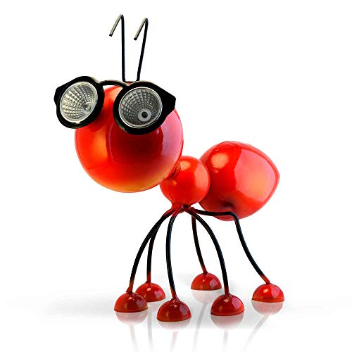 Smarty Gadgets - Metal Red Ant Statuette with Solar Powered LED Lights, Outdoor Figurine for Yard, Backyard, Patio and Garden Decoration and Ornament